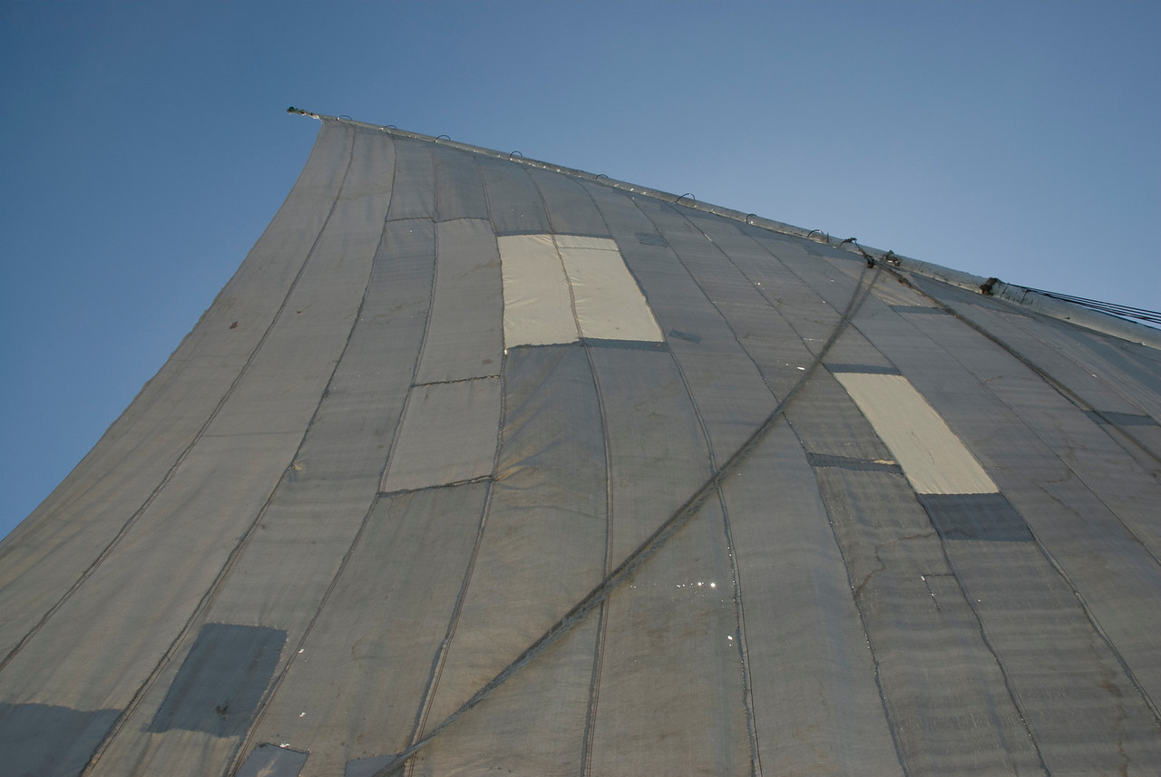 Close-up shot of the felucca sail - Aswan, Egypt