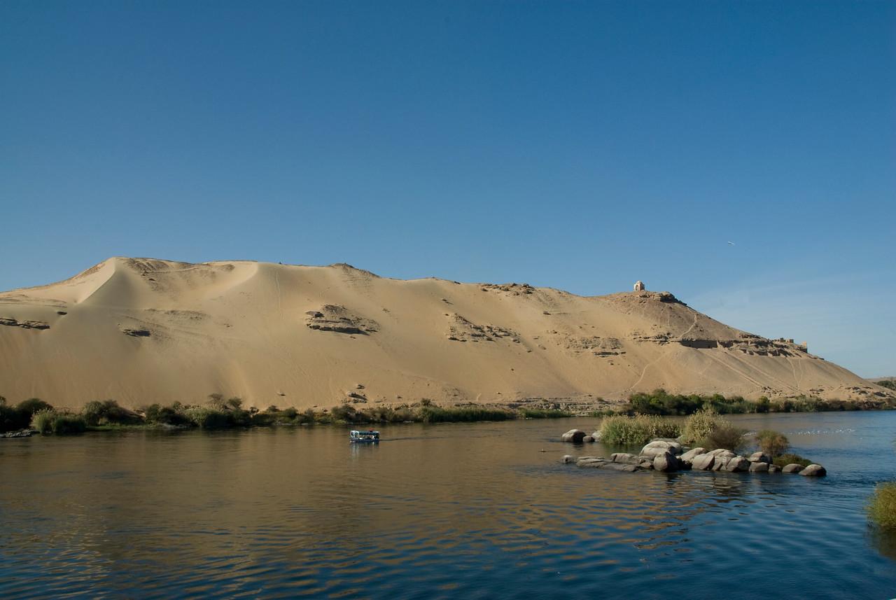Ferry and Sand Dune on Nile - Aswan, Egypt