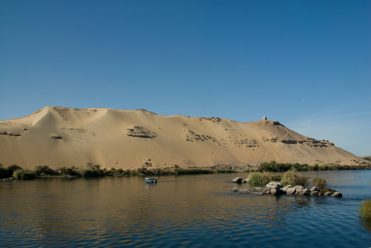 Ferry and Sand Dune on Nile - Aswan, Egypt