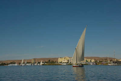 Feluccas sailing on the Nile River - Aswan, Egypt