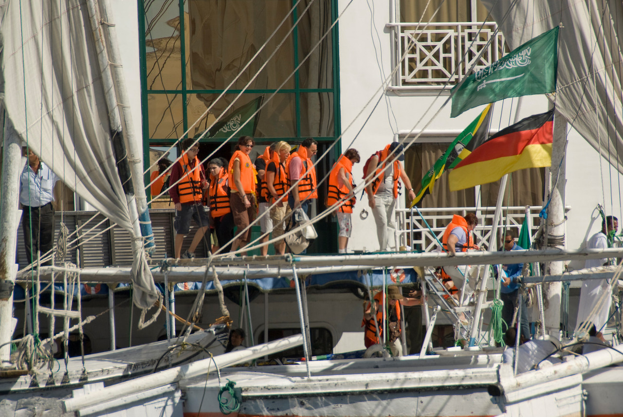 Tour Group in Life Jackets - Aswan, Egypt