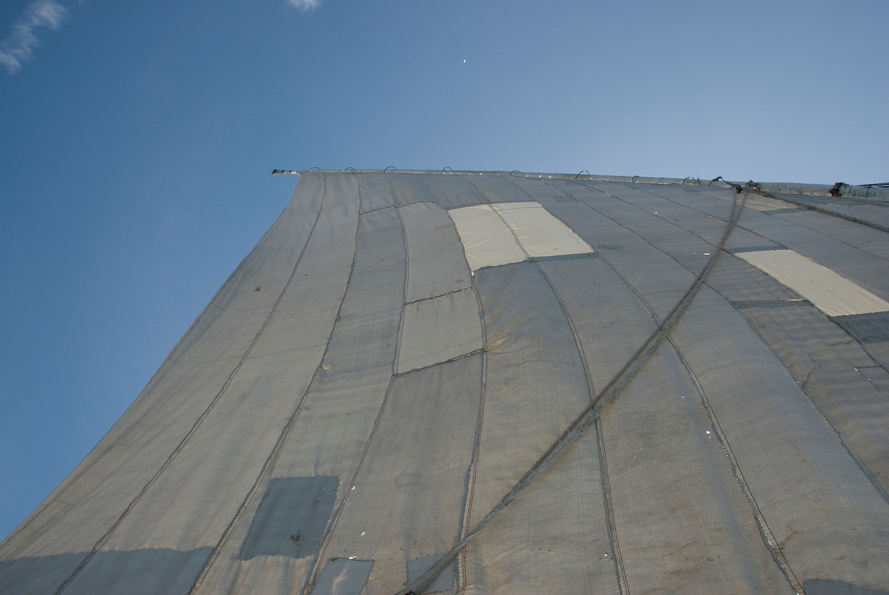 Looking up the felucca sail - Aswan, Egypt