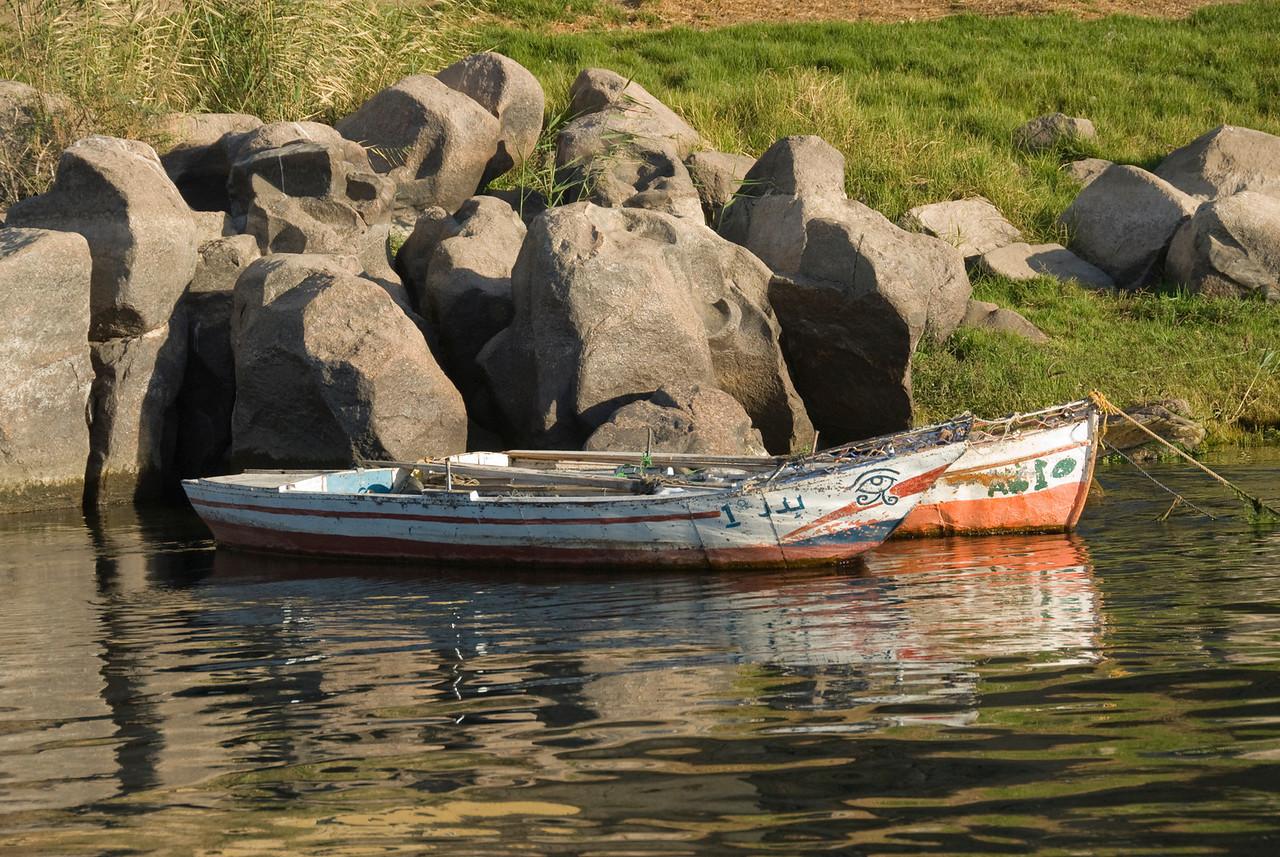 Boats docked near the riverbank - Aswan, Egypt