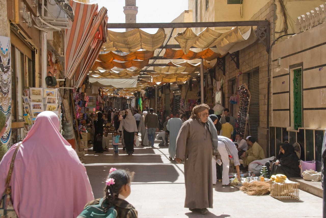 Vendor stalls at Market Awning - Aswan, Egypt