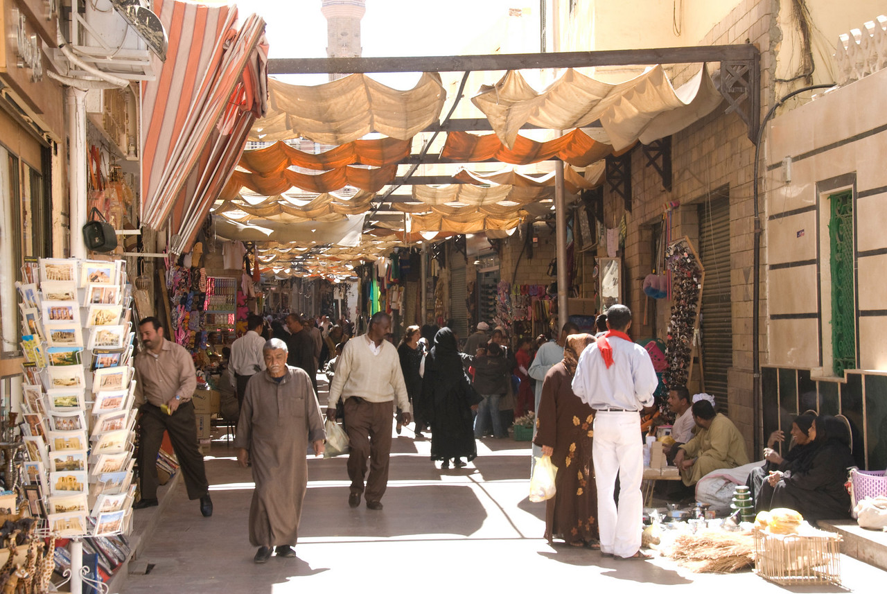 Busy day at Market Awning in Aswan, Egypt