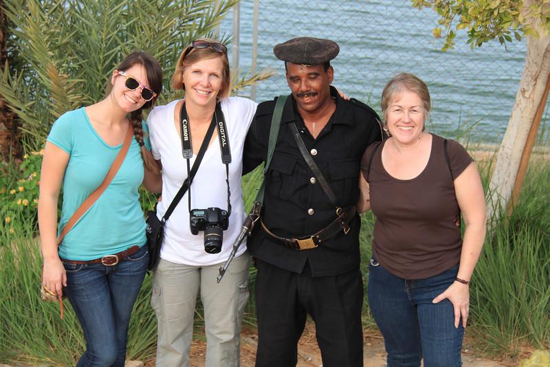 Evie, Carol, guard and Joan near Abu Simbel temples