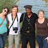 Evie, Carol, guard and Joan near Abu Simbel temples