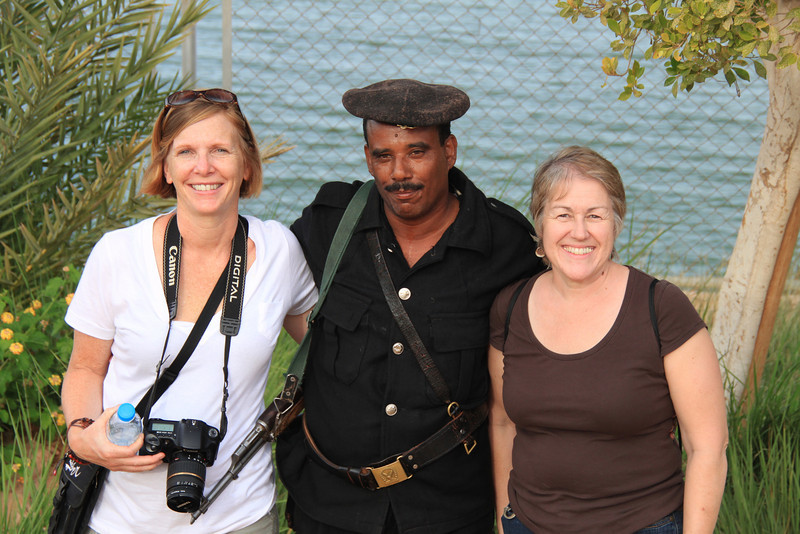 Carol, guard and Joan near Abu Simbel temples