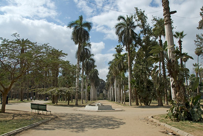 Wide shot of Botanical Garden compound - Cairo, Egypt