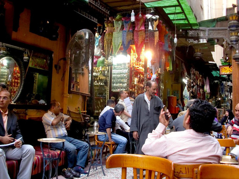 People relaxing in Khan al-Khalili.
