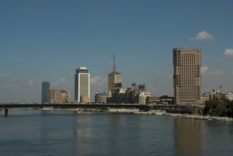 View of bridge and skyline at Nile River bank - Cairo, Egypt