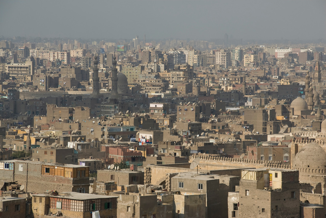 Wide shot of city skyline in Cairo, Egypt
