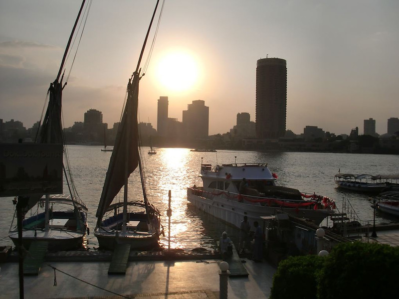 The Nile River in Cairo at sunset.