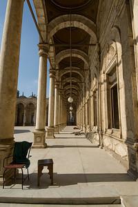Long hallway outside Mohamed Ali Mosque- Cairo, Egypt