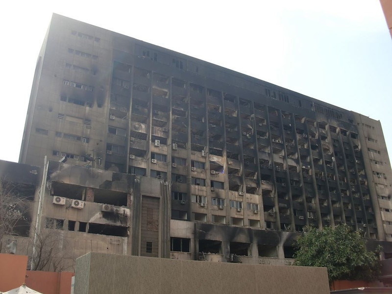 The burned National Democratic Party in Cairo.