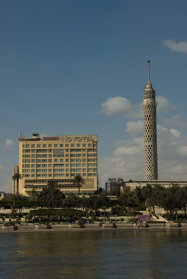 Cairo Tower and Hotel above city skyline - Cairo, Egypt