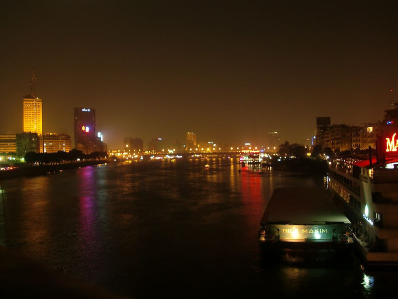 The Nile River at night.