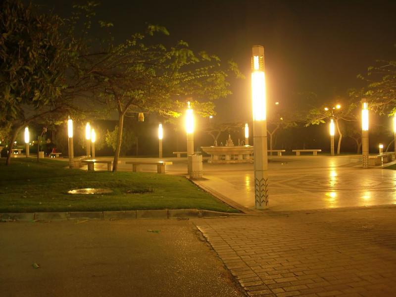 Al Azhar Park at night in Cairo.