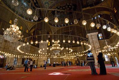 Lots of light bulbs inside Mohamed Ali Mosque - Cairo, Egypt