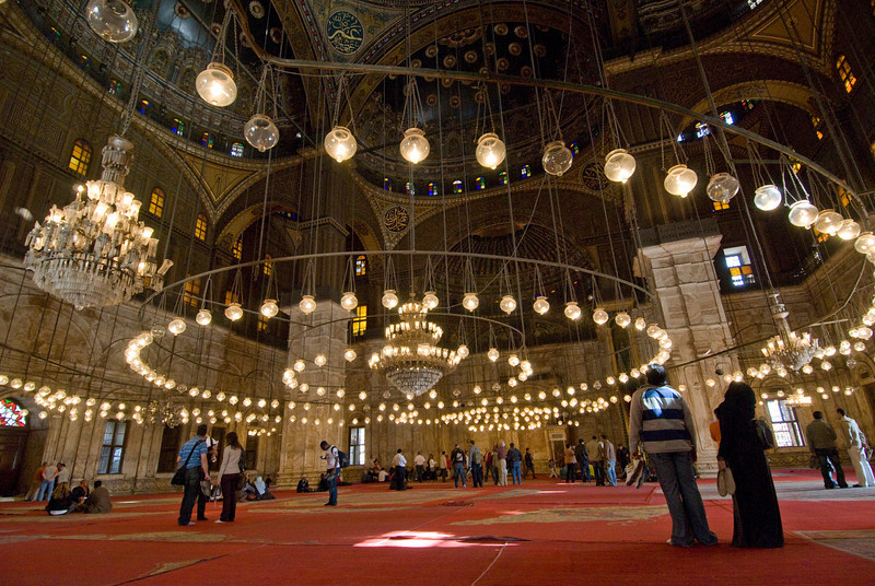 Lots of light bulbs inside Mohamed Ali Mosque - Cairo, Egypt