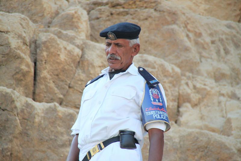guard at Giza Pyramids