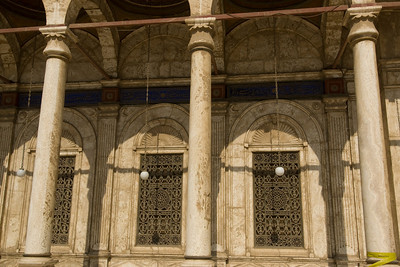 Hanging light bulbs on pillars of Mohamed Ali Mosque - Cairo, Egypt