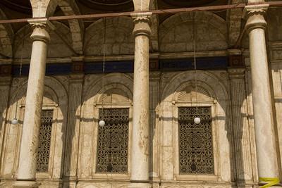 Hanging light bulbs on pillars of Mohamed Ali Mosque - Cairo, Egypt