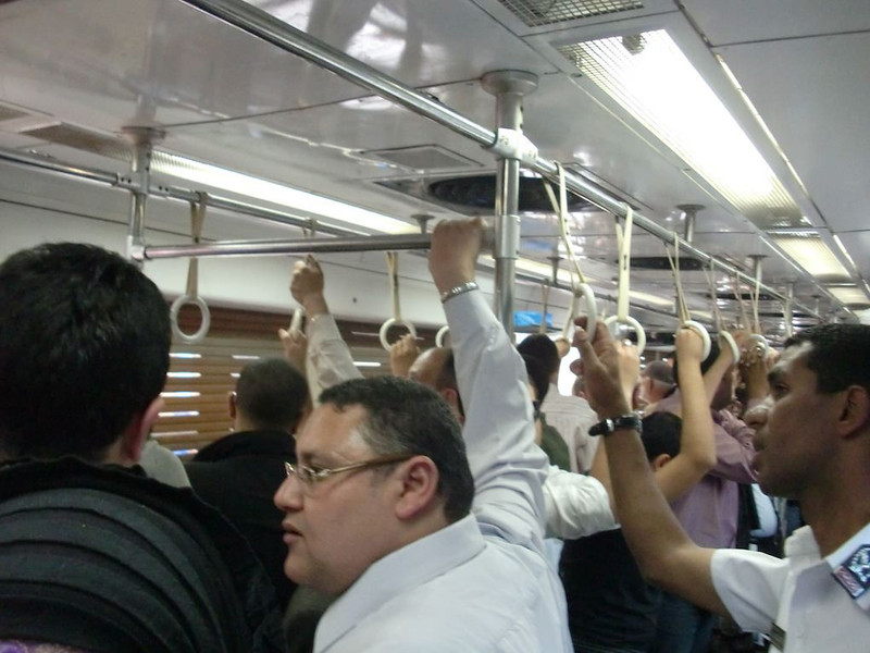 Inside of a metro car in Cairo.