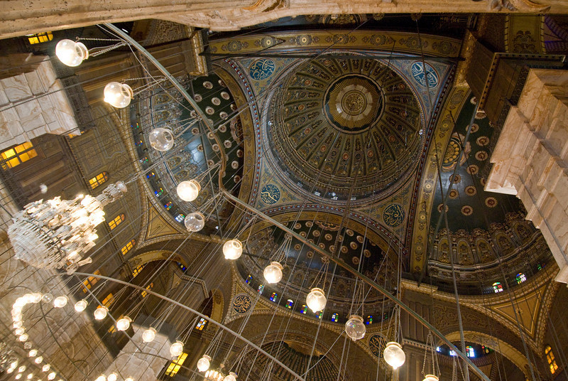 Looking up lights and ceiling inside Mohamed Ali Mosque - Cairo, Egypt