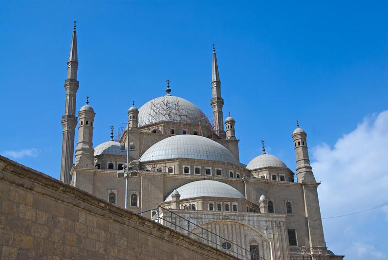 Closer shot of Mohamed Ali Mosque from outside - Cairo, Egypt