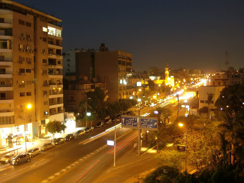 The streets of Cairo at night.