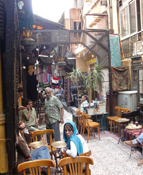 A narrow street in Khan al-Khalili.