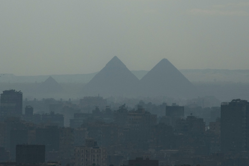 Pyramids in the Mist - Cairo, Egypt