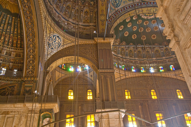Beautiful interior design at Mohamed Ali Mosque - Cairo, Egypt