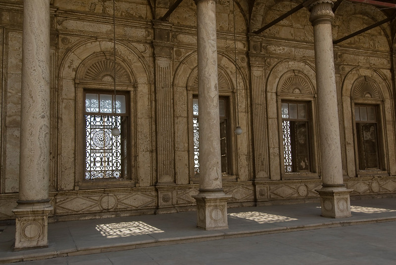 Windows and pillars at Mohamed Ali Mosque - Cairo, Egypt