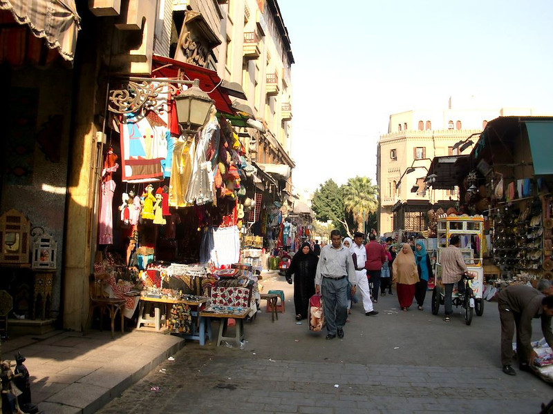 People shopping in Khan al-Khalili.