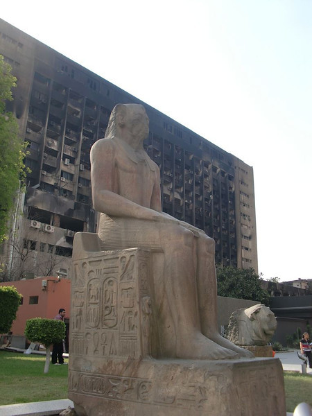 A statue outside of The Museum of Egyptian Antiquities.