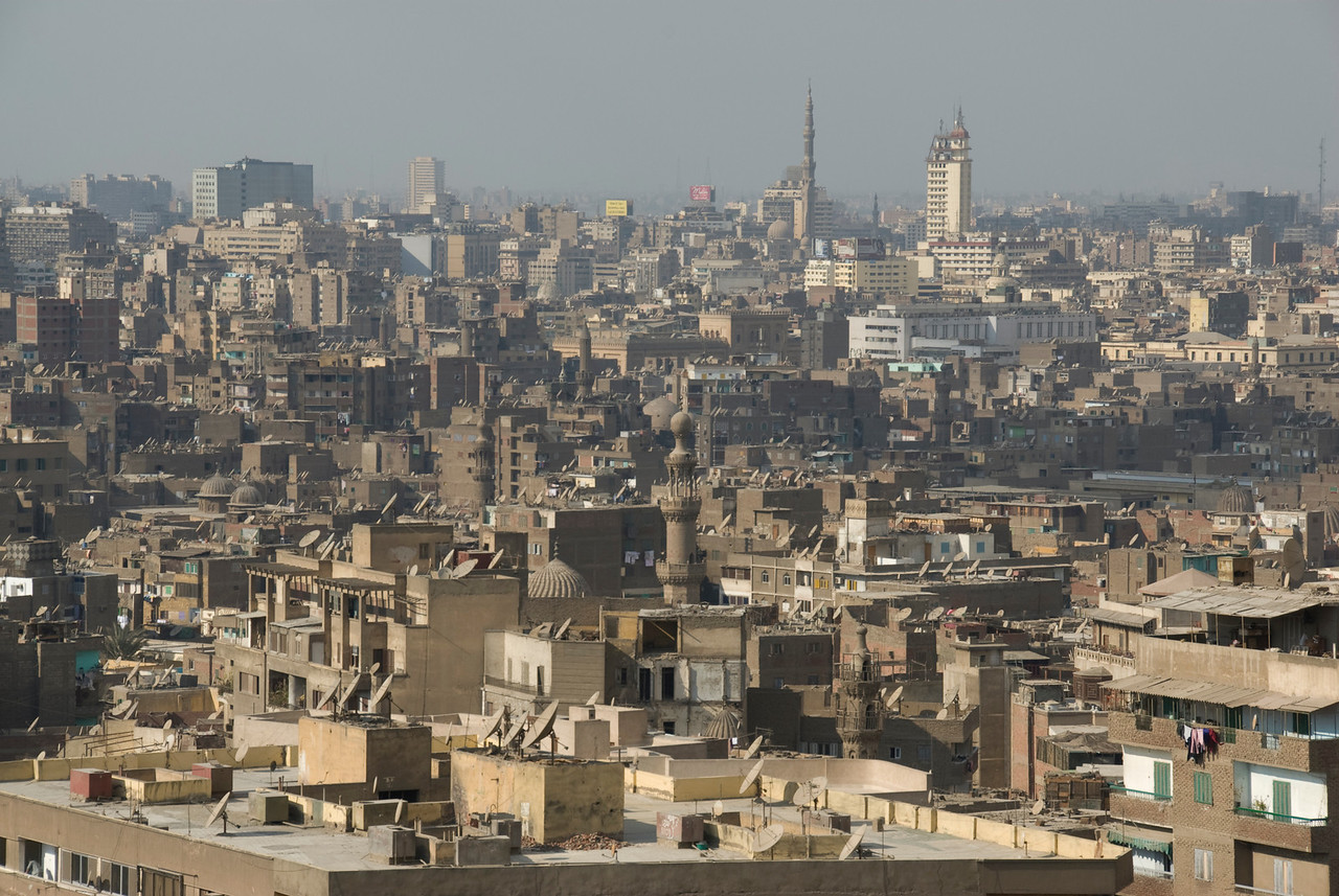 Overhead view of the city skyline in Cairo, Egypt
