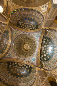 Ornate ceiling inside Mohamed Ali Mosque - Cairo, Egypt