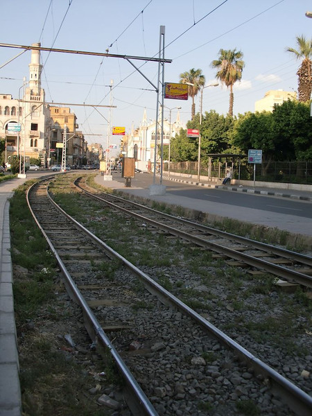 The train tracks in Zamalek, Cairo.