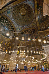 Beautiful lighting inside Mohamed Ali Mosque - Cairo, Egypt