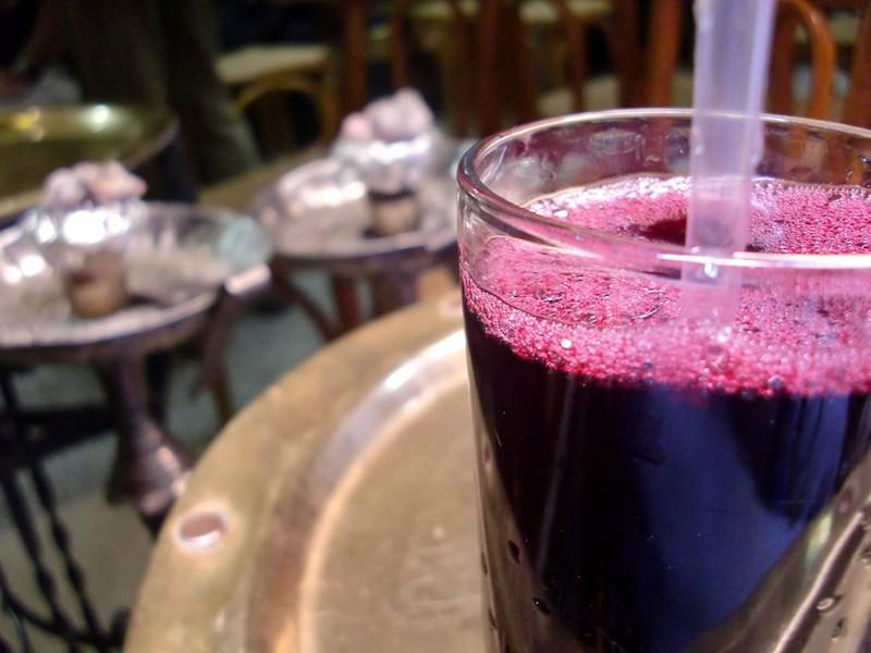 A glass of pomegranate juice in Khan al-Khalili.