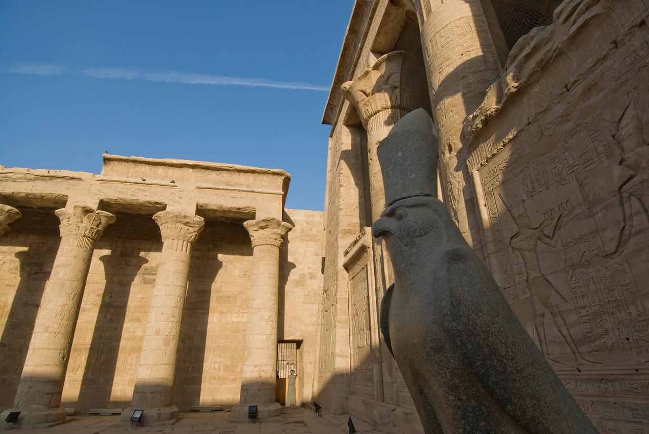 Falcon Statue with pillars and heiroglyphics on background at Edfu Temple - Edfu, Temple