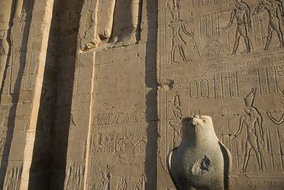 Heiroglyphic wall behind Falcon Statue at Edfu Temple - Edfu, Temple