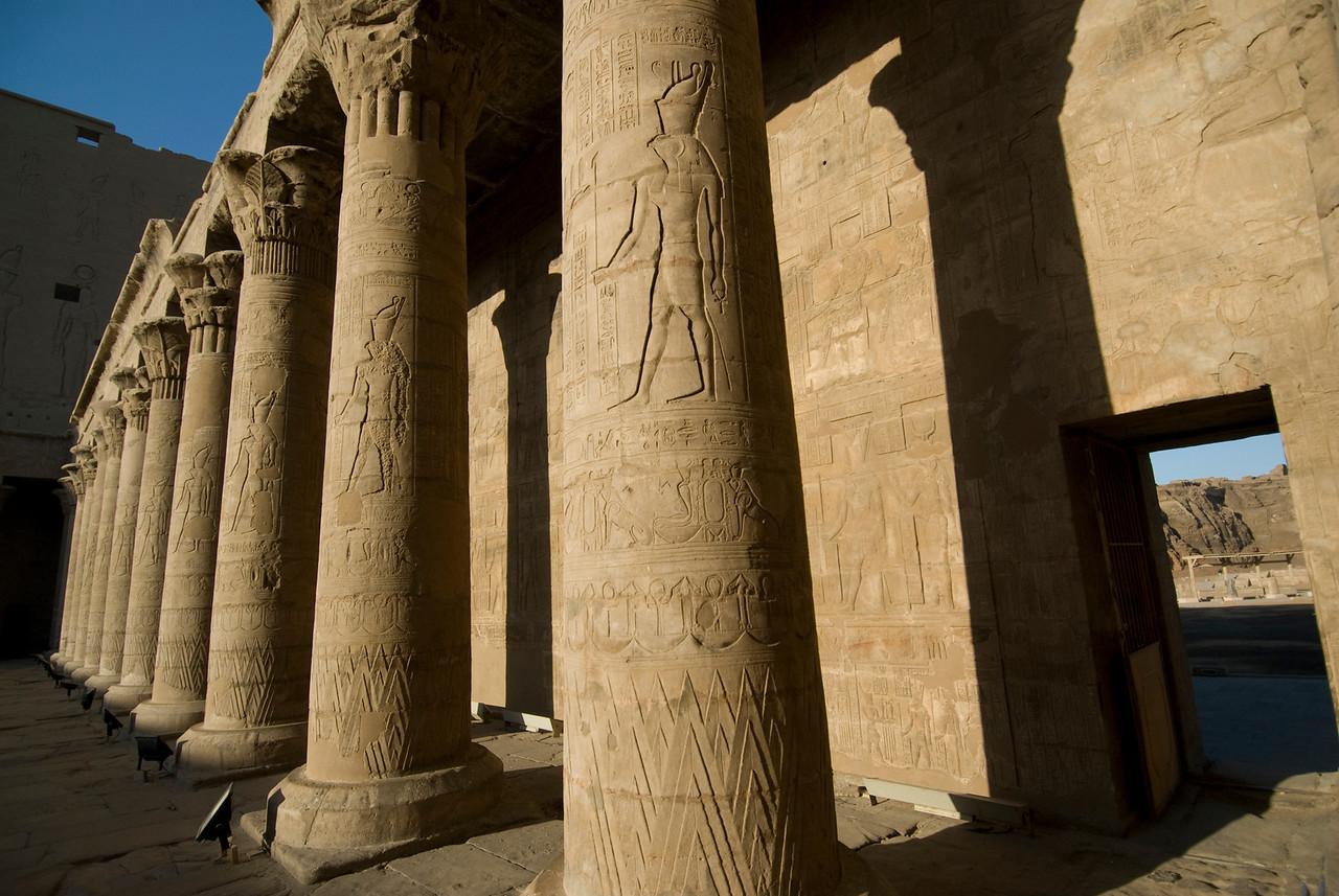 Pillars with heiroglyphics at Edfu Temple - Edfu, Temple