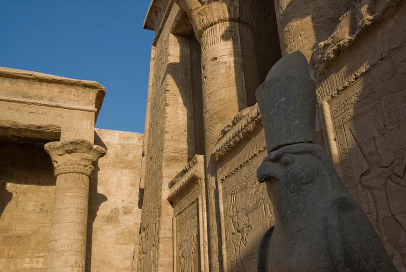 Close-up shot of Falcon Statue at Edfu Temple - Edfu, Temple
