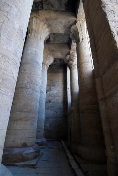 Pillars inside the Edfu Temple - Edfu, Temple