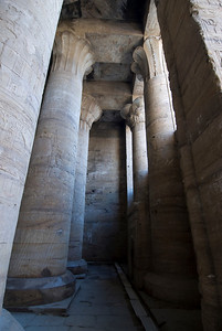Pillars inside the Edfu Temple - Edfu, Temple