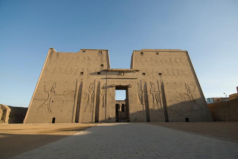 Wall carvings at facade of Edfu Temple - Edfu, Temple