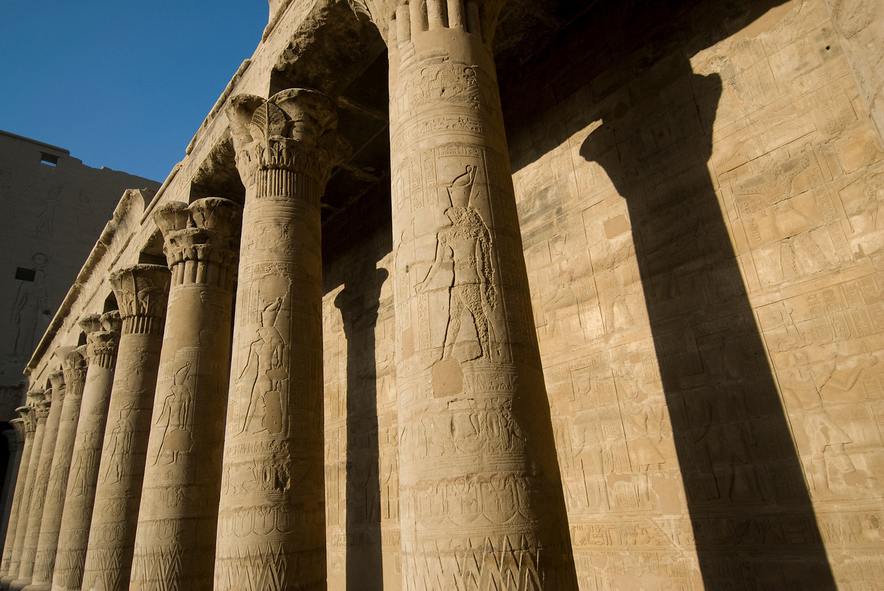 Heiroglyphics on pillars of Edfu Temple - Edfu, Egypt